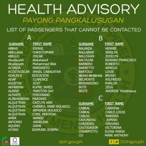 Partial passenger list  Image/Facebook