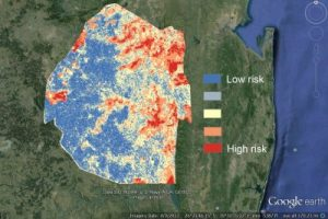 A sample risk map of malaria in Swaziland during the transmission season using data from 2011-2013  Image/UCSF