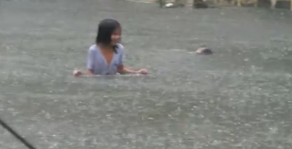 Flooding in Manila following Typhoon Fung-Wong (local name Mario) Image/Video Screen Shot