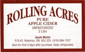 Rolling Acres Cider Mill Unpasteurized apple cider/CFIA