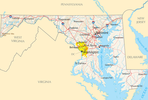 Maryland map/National Atlas of the United States