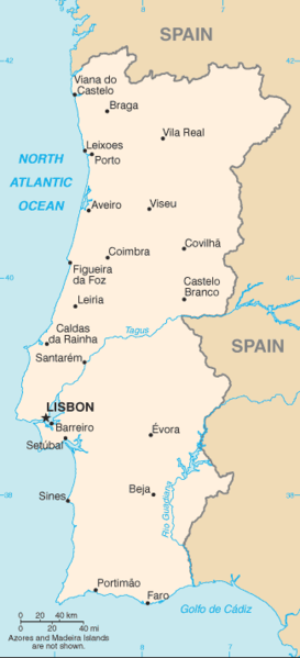 Portugal map/CIA