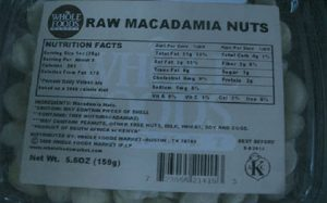 Whole Foods macadamia nuts/FDA