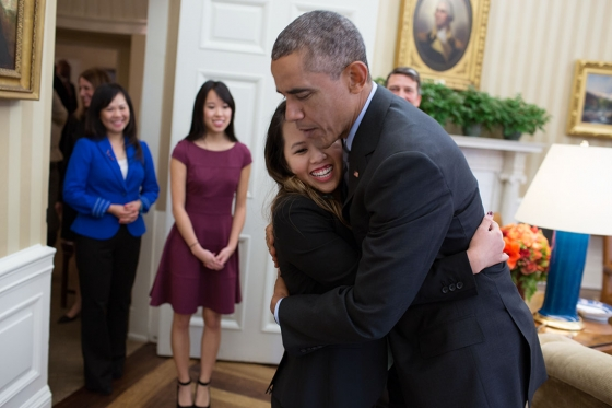 President Barack Obama greets Nina Pham, a Dallas nurse diagnosed with Ebola after caring for an infected patient in Texas, in the Oval Office, Oct. 24, 2014. Pham is virus-free after being treated at the National Institutes of Health Clinical Center in Bethesda, Md. (Official White House Photo by Pete Souza)