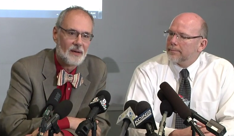 Dr. Paul Cieslak and Dr. Patrick Luedtke take questions from the press/Video Screen Shot
