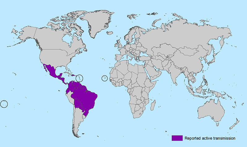 All Countries and Territories with Active Zika Virus Transmission/CDC