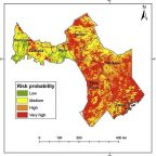 Researchers have developed Rift Valley fever risk zone maps. This map shows risk distribution in districts of central and southern Kenya (Map by Mosomtai). Credit: Umeå University
