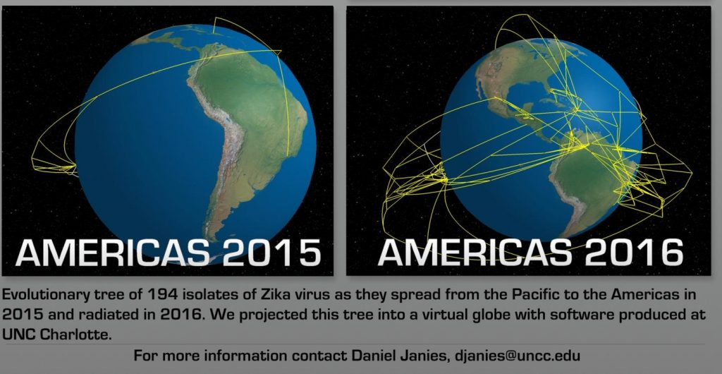 Maps showing travel and evolution of Zika virus in transit to South America, and after South American spread. Image/Daniel Janies