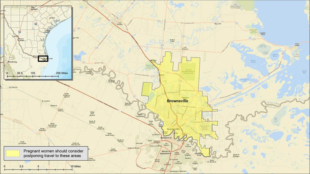 Brownsville, TX. Yellow shows areas where pregnant women should consider postponing travel/CDC