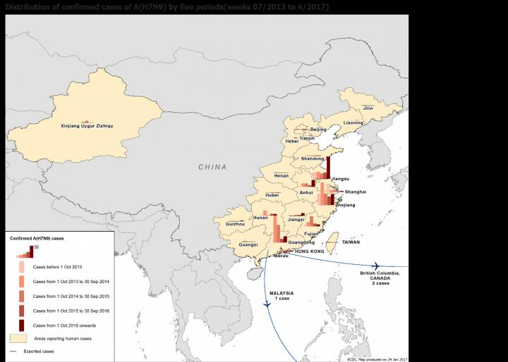This image shows the distribution of A(H7N9) human cases in China over the five epidemic waves. Week 7/2013 to 4/2017. Image/European Centre for Disease Prevention and Control