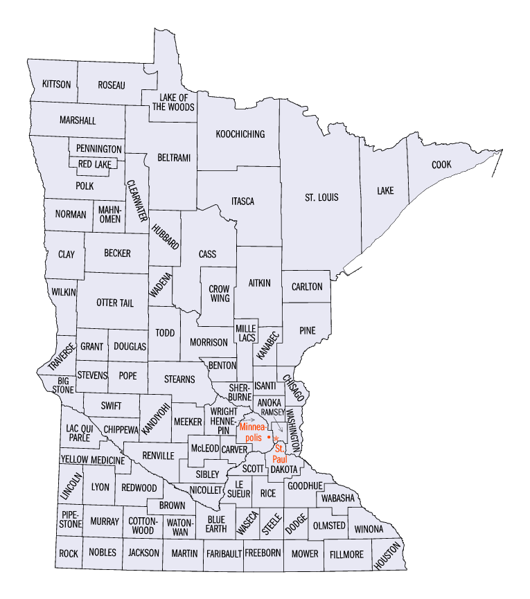 Minnesota counties map/US government