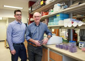 David Evans and Ryan Noyce have created a new synthetic virus they hope could lead to the development of a more effective vaccine against smallpox. Image/Melissa Fabrizio
