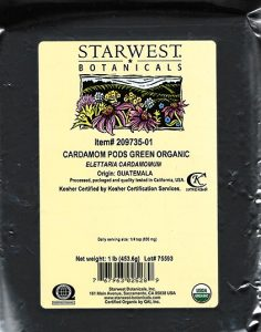 Organic Cardamom Pods Green (Whole) /FDA
