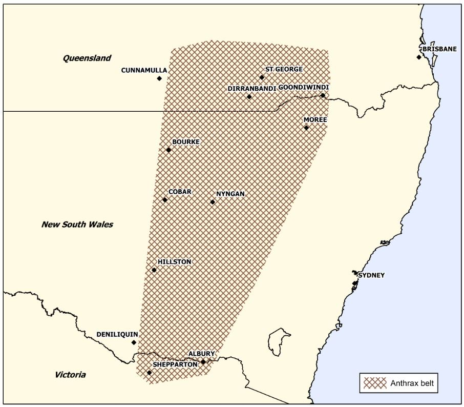 Australia anthrax belt Image/Biosecurity Qld