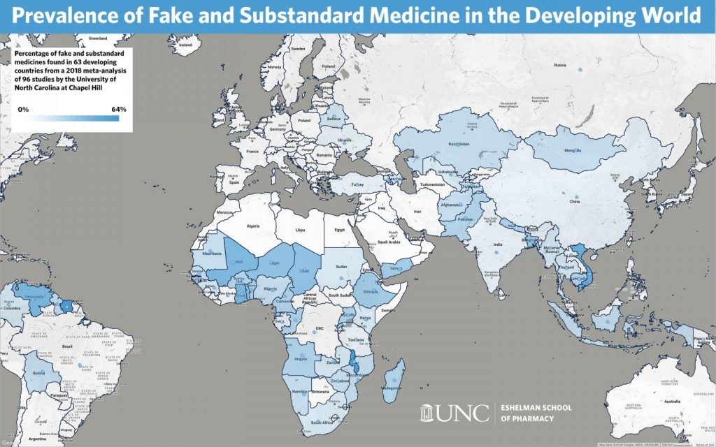 The color-coded map shows the percentage of fake and substandard medicines found in 63 developing countries. Image/UNC Eshelman School of Pharmacy