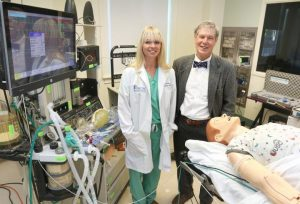 Dr. Lacey MenkinSmith (left) and Dr. Jerry Reves (right) in the Health Care Simulation Center at the Medical University of South Carolina. Image/Sarah Pack, Medical University of South Carolina