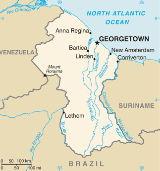 Guyana map/CIA