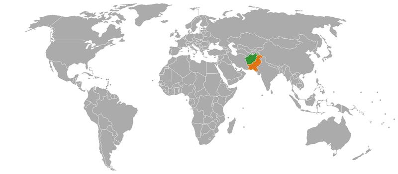 Afghanistan Pakistan map/Public domain image- Pahari Sahib