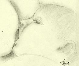 Baby breastfeeding drawing Public domain image/ Gonneke