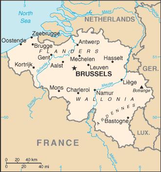 Belgium map/CIA