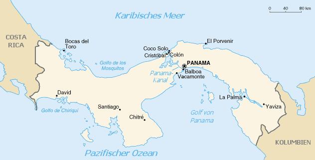 Panama map/CIA