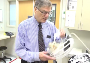 Dr. Bruce Ribner gives a tour of the Emory University Hospital isolation unit  Image/Video Screen Shot