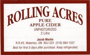 Rolling Acres Cider Mill Unpasteurized apple cider/CFIA