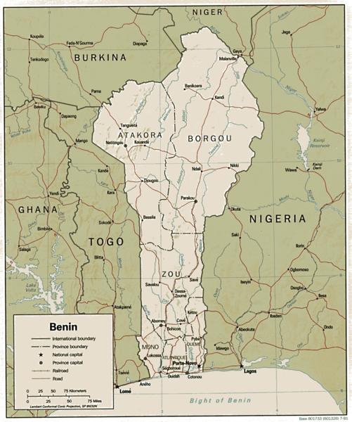 Benin map/CIA