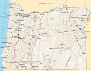Oregon map Image/ National Atlas of the United States