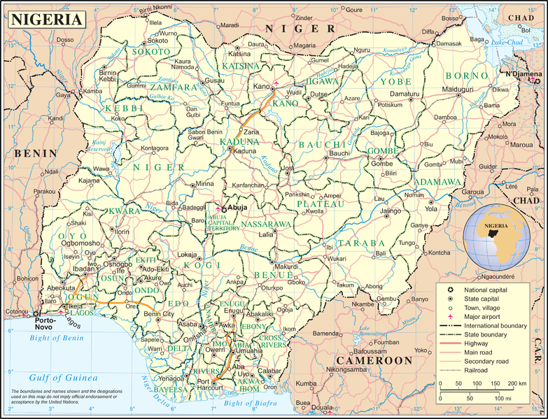 Nigeria map divided by states/United Nations