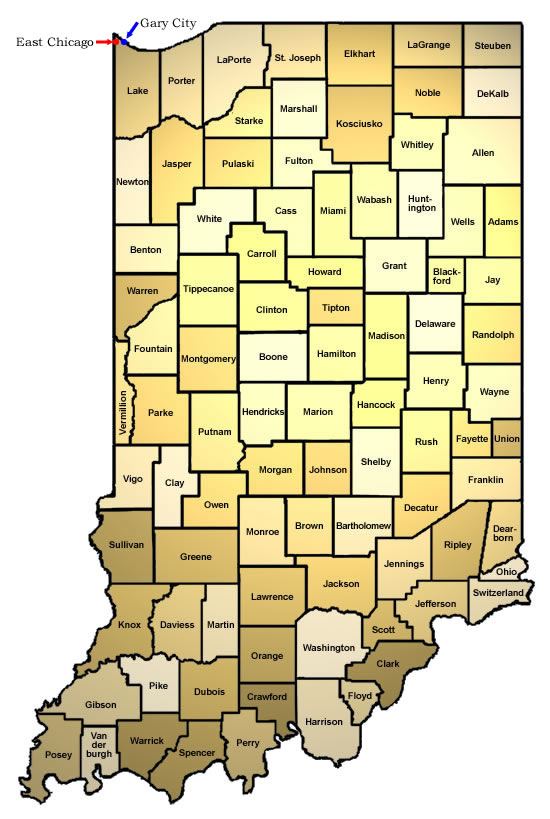 Indiana county map/ISDH