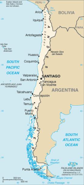 Chile map/CIA