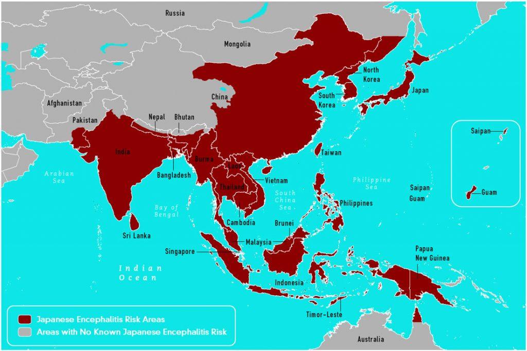 Japanese encephalitis geography/CDC