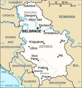 Serbia map/CIA