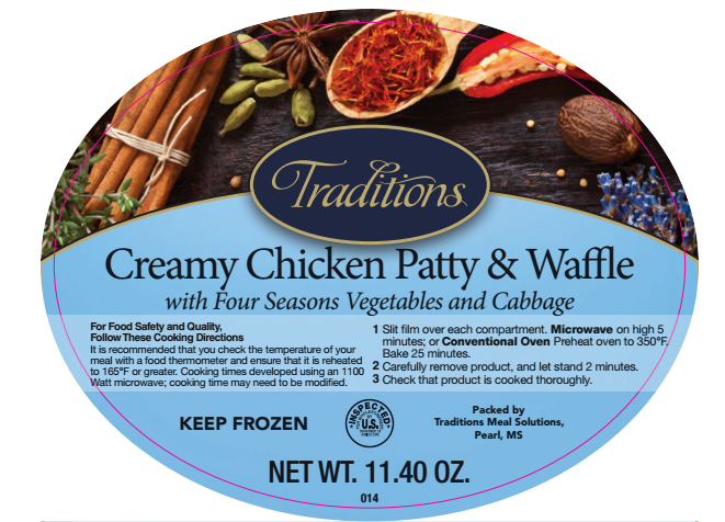 Traditions Creamy Chicken Patty & Waffle Image/FSIS