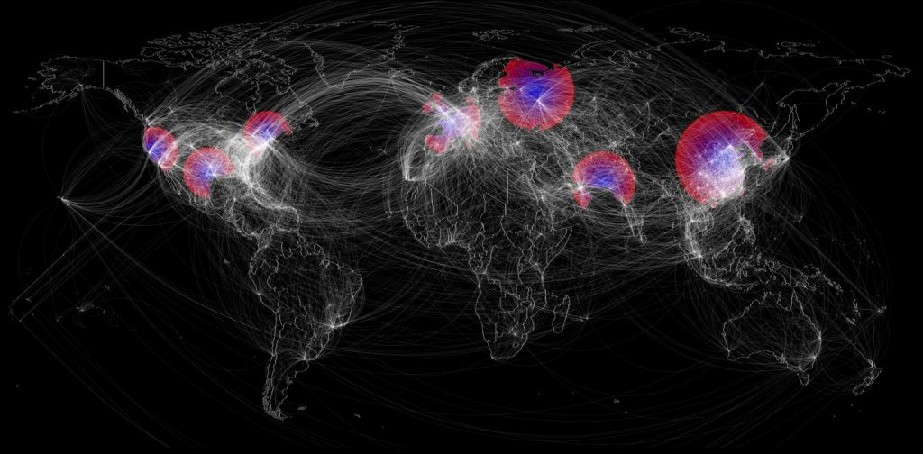Influenza pandemics can emerge unexpectedly and wreak global devastation. However, each of the six pandemics since 1889 emerged in the Northern Hemisphere following the flu season, suggesting that pandemic timing may be predictable. Fox and colleagues provide a possible explanation that seasonal flu epidemics may leave a wake of transient immunity in the population hindering pandemic emergence. Hypothetical seasonal flu epidemic spread (not based on real or simulated data) is depicted here with the colors indicating regions currently infected with seasonal flu (red), refractory and immune to pandemics (purple), and recovered and currently susceptible to a novel pandemic (blue). White lines depict the global flight network. Image/Spencer J. Fox