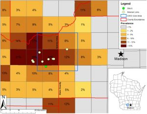 Locations of sampled mineral licks and prevalence of chronic wasting disease (CWD) in hunter-harvested white-tailed deer from 2010-2013 in south-central Wisconsin, USA. Squares are townships of 9.66 km per side. Inset shows state of Wisconsin, USA. Site 6 denotes the mineral lick with CWD-positive fecal samples. Image/PLOS ONE