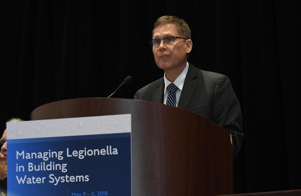 David Purkiss, Conference Co-Chair and Vice President of NSF International's Global Water Division, noted that 9 out of every 10 outbreaks of Legionnaires' disease can be prevented with a proper water management plan in place, according to the CDC. Image/Karen Jackson