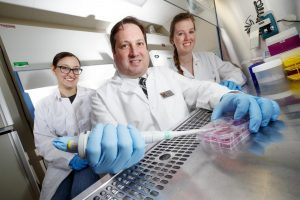 This is Eric Weaver, assistant professor in the University of Nebraska-Lincoln School of Biological Sciences, and his graduate assistants, Brigette Corder (left) and Brianna Bullard. Image/Craig Chandler | University of Nebraska-Lincoln